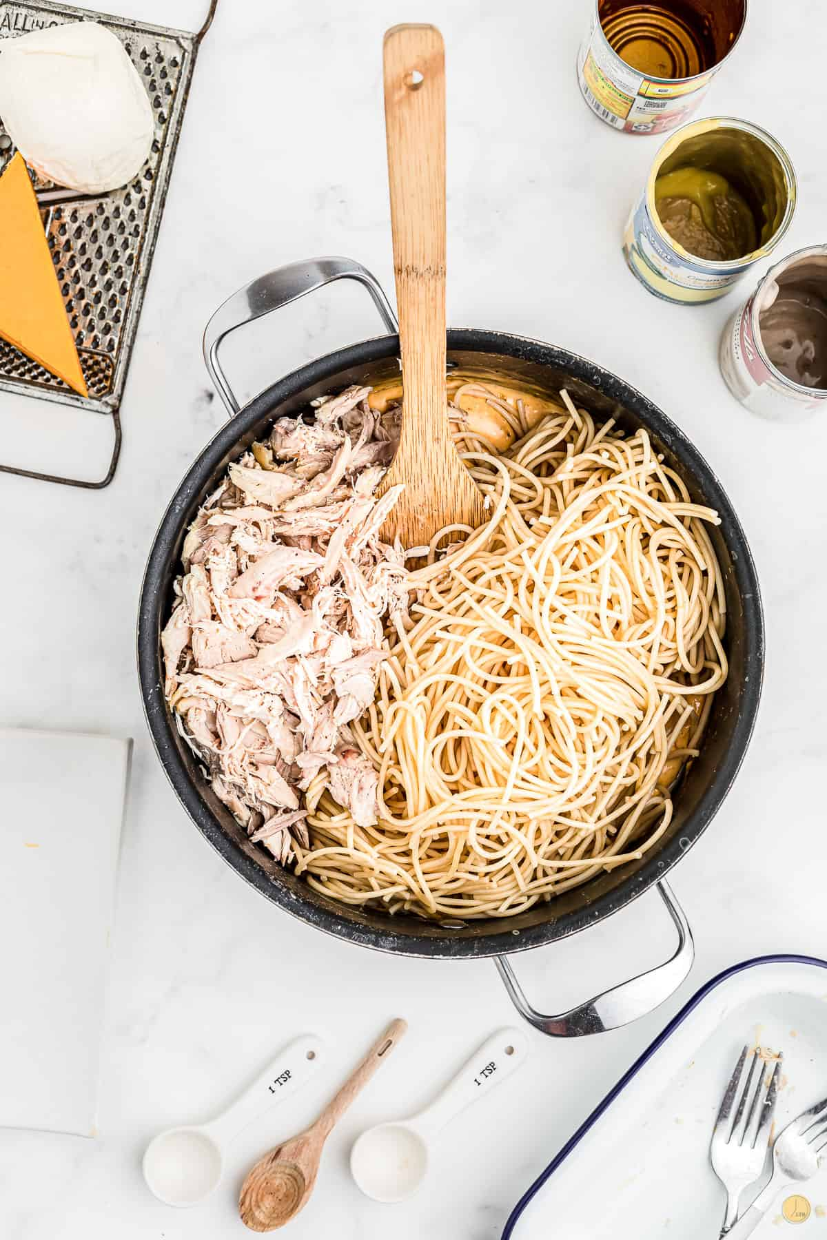 chicken and pasta in a pot