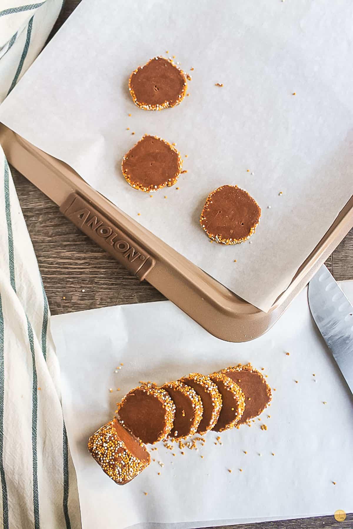 sliced icebox cookie dough on baking sheet