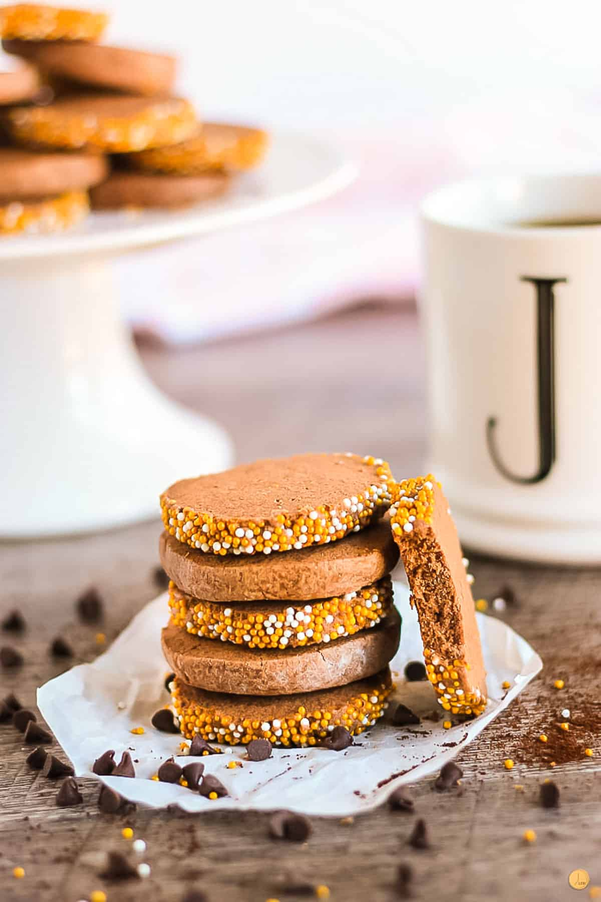 chocolate icebox cookies and a coffee cup