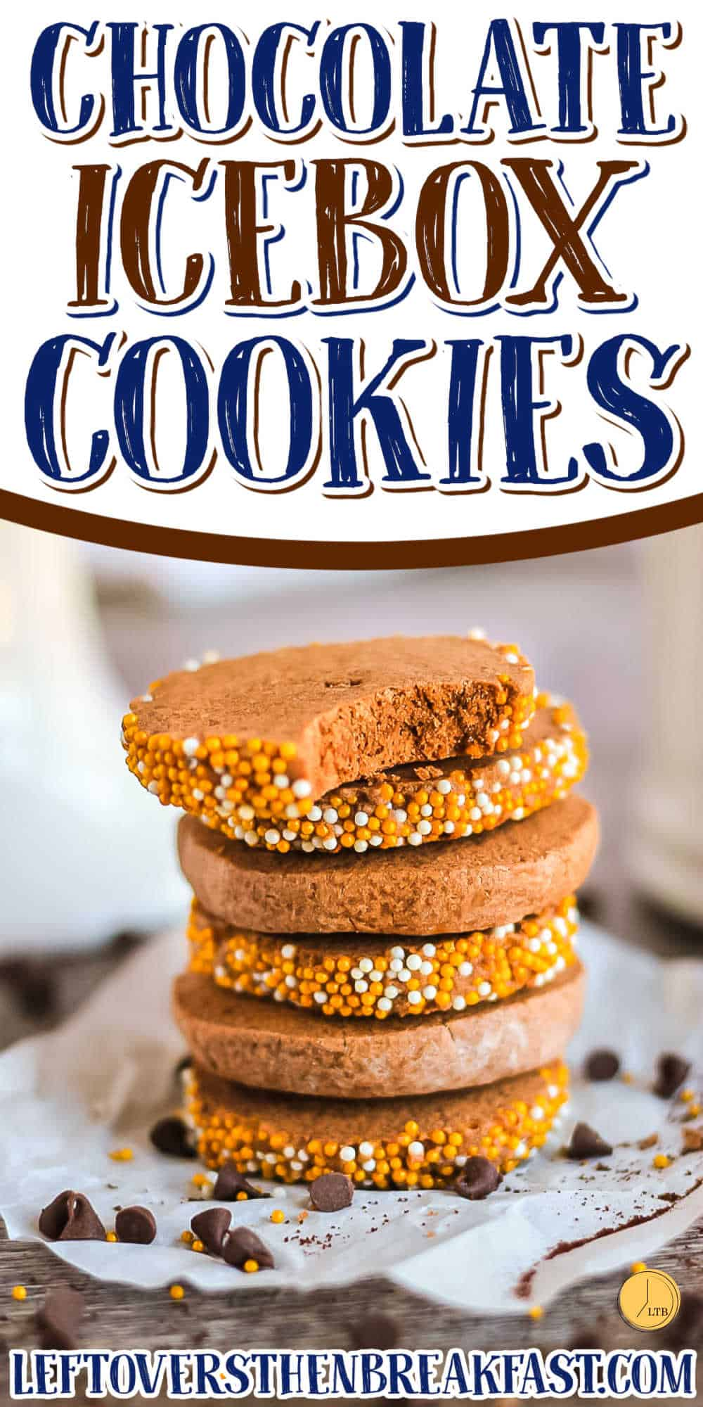 """stack of cookies with text """"chocolate espresso icebox cookie"""""""