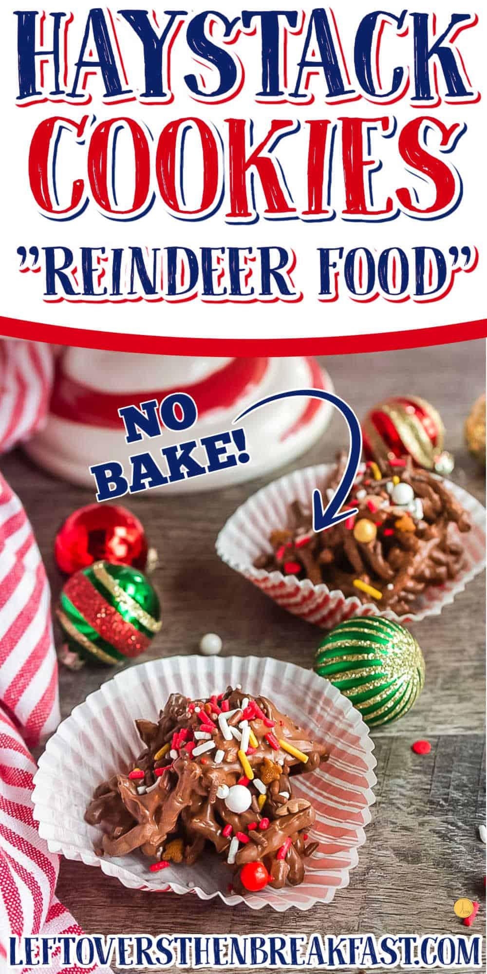 """collage with text """"reindeer haystack cookies"""""""