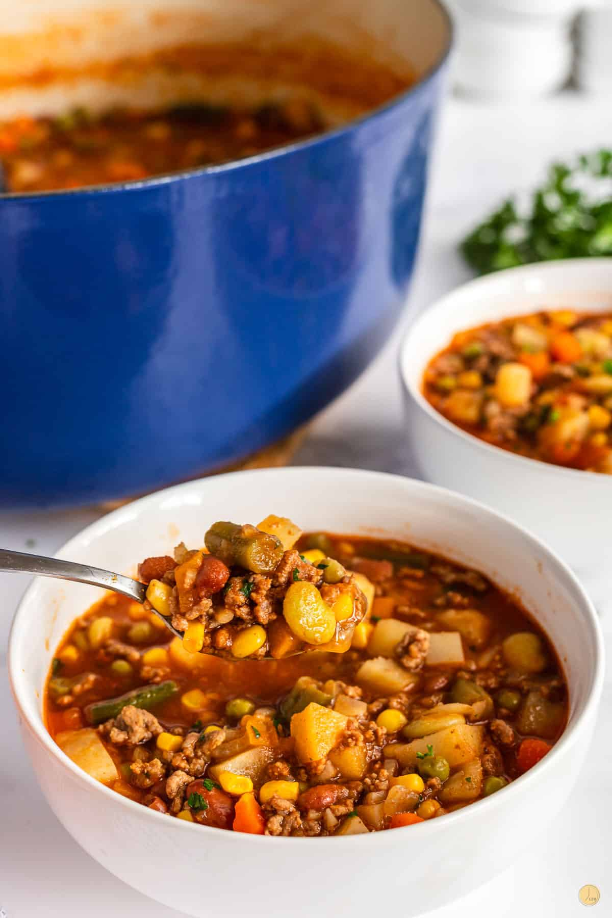 pot of stew with a spoonful