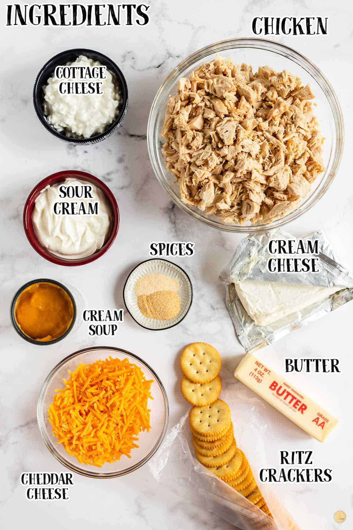 labeled picture of chicken casserole ingredients