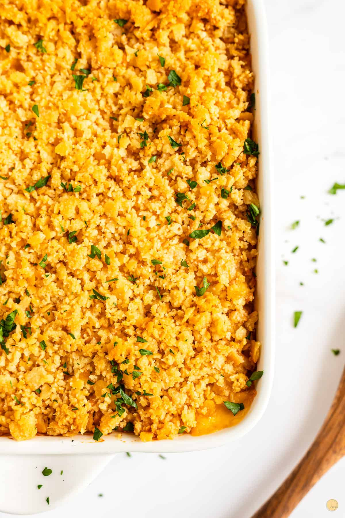 baked casserole in a white dish