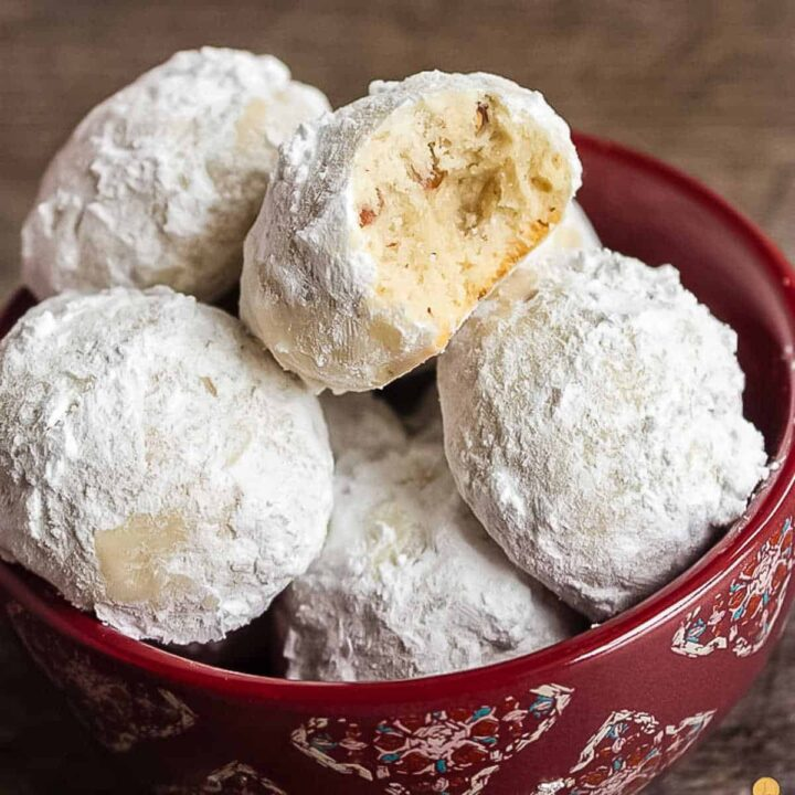 white cookies in a red bowl